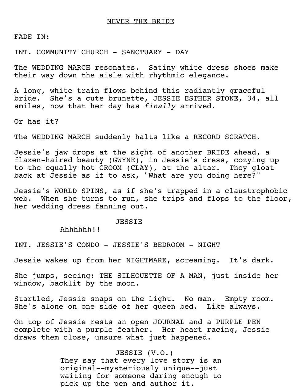 how to write a dream sequence screenplay